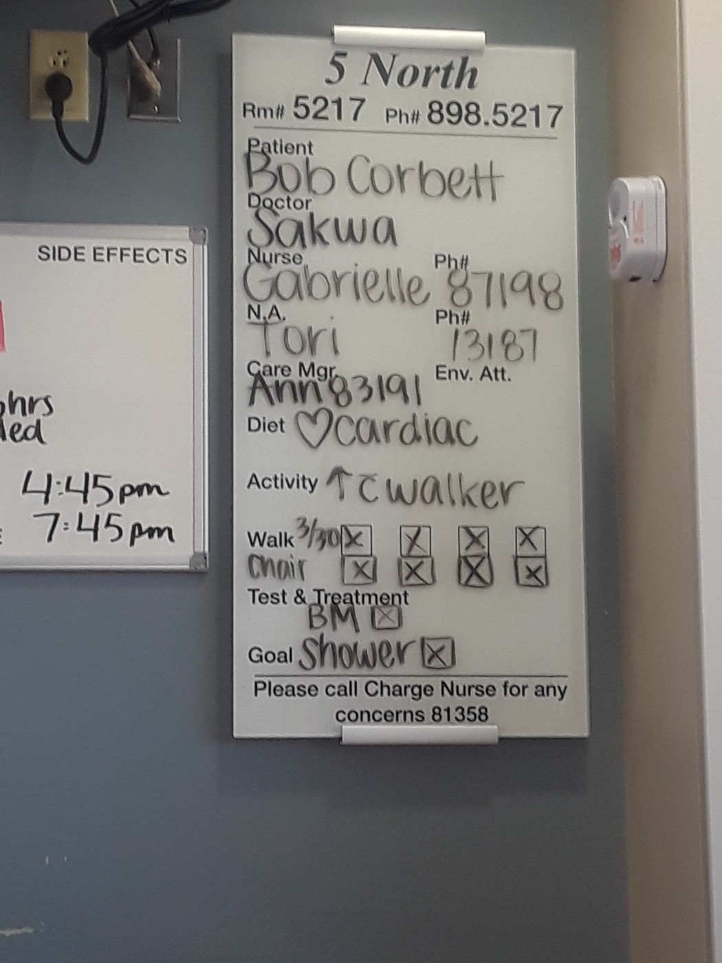 Instruction Board from late Friday, March 30, 2018.
