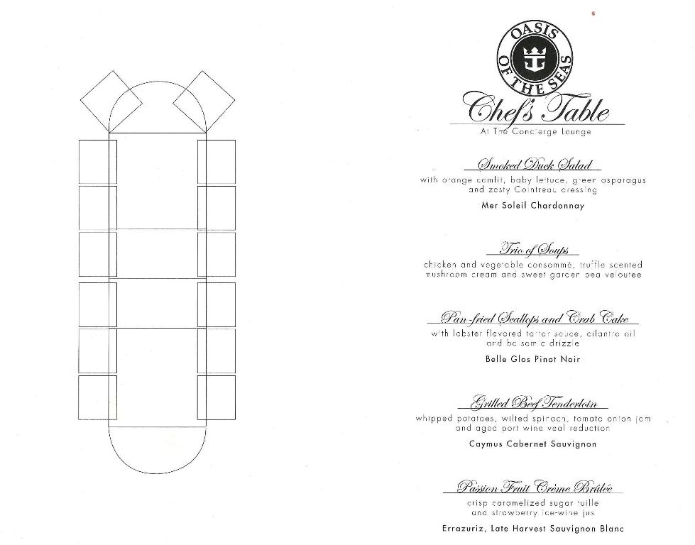 CHEFS TABLE MENU