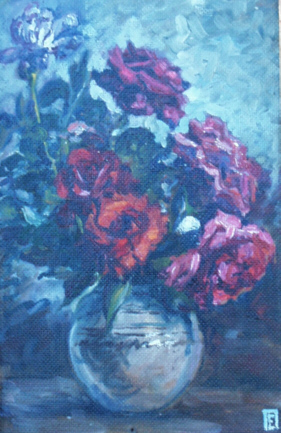 Roses in a clay vase